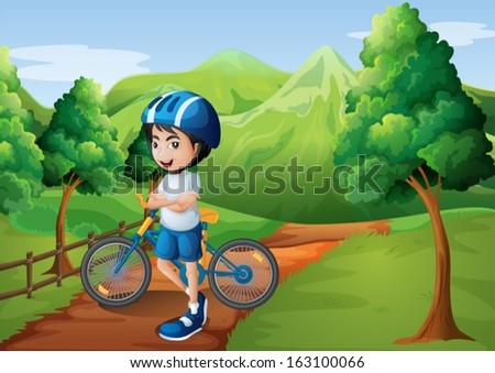 Illustration of a boy standing in the middle of the pathway with his bike - stock vector