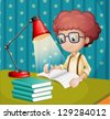 Illustration of a boy studying - stock vector