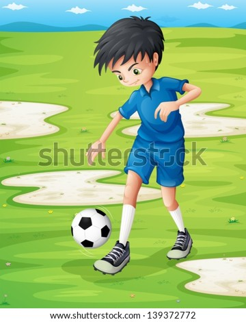 Illustration of a boy sweating while playing football - stock vector