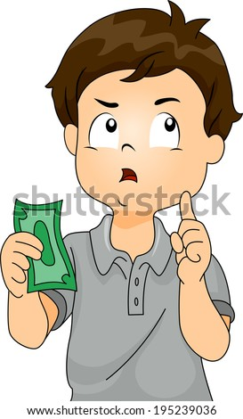 Illustration of a Boy Thinking to Himself While Holding a Paper Bill - stock vector