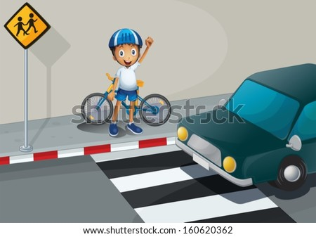 Illustration of a boy with a bike standing near the pedestrian lane - stock vector