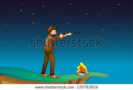 Illustration of a boy with a gun at the cliff with a campfire - stock vector