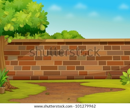 Illustration of a brick wall in a garden - stock vector
