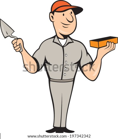 Illustration of a bricklayer mason plasterer worker holding trowel and brick standing front view on isolated white background done in cartoon style.