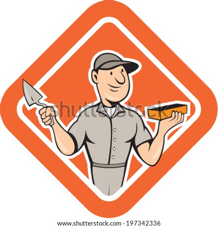 Illustration of a bricklayer mason plasterer worker holding trowel and brick standing set inside shield crest on isolated background done in cartoon style. - stock vector