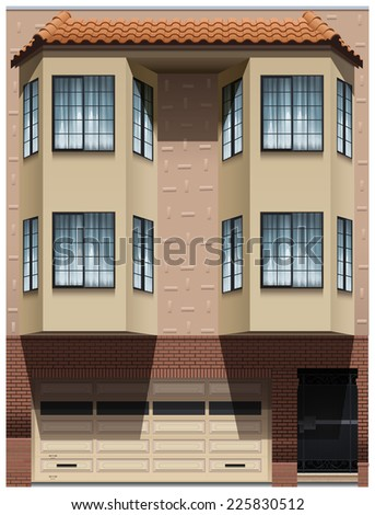 Illustration of a building on a white background  - stock vector