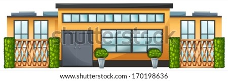 Illustration of a building with green plants on a white background - stock vector