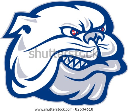 illustration of a bulldog mongrel dog head facing side on isolated background