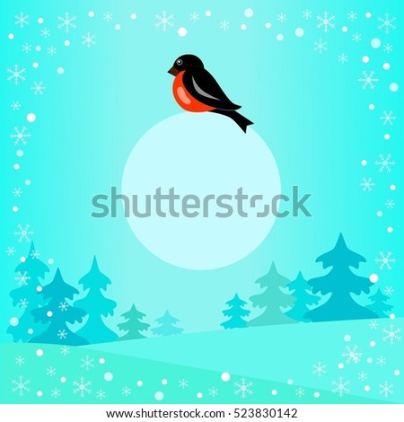 illustration of a bullfinch on a blue background