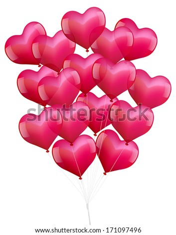 Illustration of a bunch of realistic looking heart shaped pink balloons. - stock vector