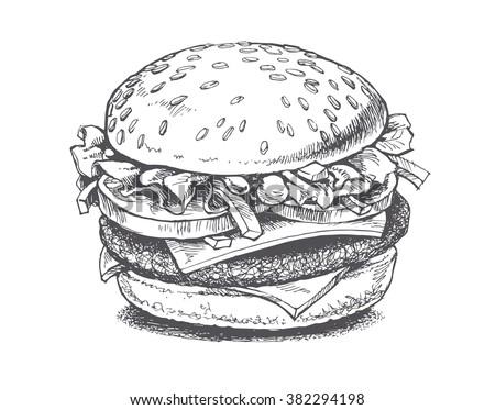 Illustration Burger Vector Drawing 382294198