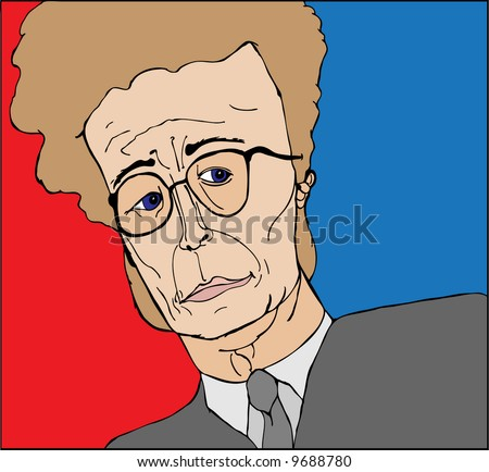 Illustration of a business man with big hair and glasses