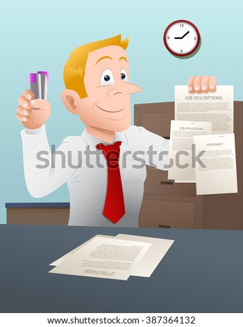illustration of a businessman hold a note in his hands close-up on a office background - stock vector