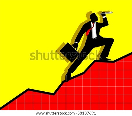Illustration of a businessman using telescope - stock vector