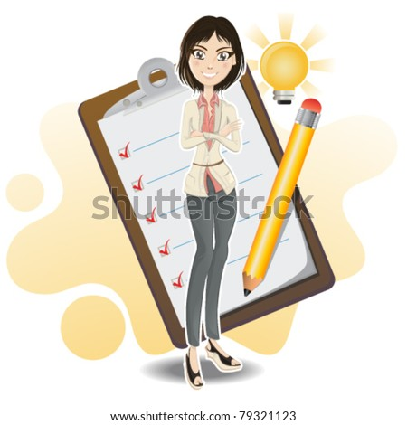 Illustration of a businesswoman making a business checklist from her brilliant idea with notepad and pencil. - stock vector