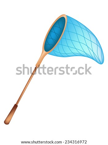 Illustration of a butterfly net / fishing net isolated on white background - stock vector