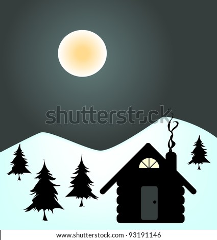Illustration of a cabin in the mountains in the wintertime. - stock vector