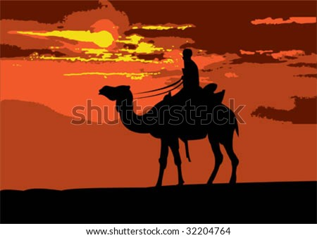 Illustration of a camel rider traveling through the desert on sunset - stock vector