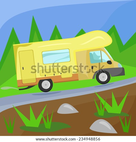 Illustration of a camper on the road in the woods - stock vector