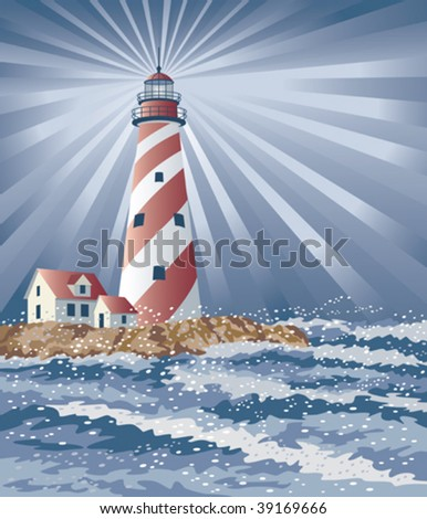 Illustration of a candy cane lighthouse illuminating the night. - stock vector