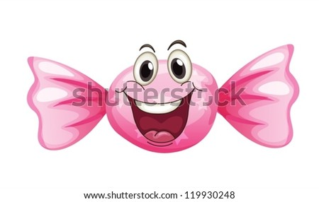 Illustration Of A Candy With Face On White Background