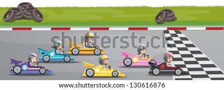 Illustration of a car racing competition - stock vector