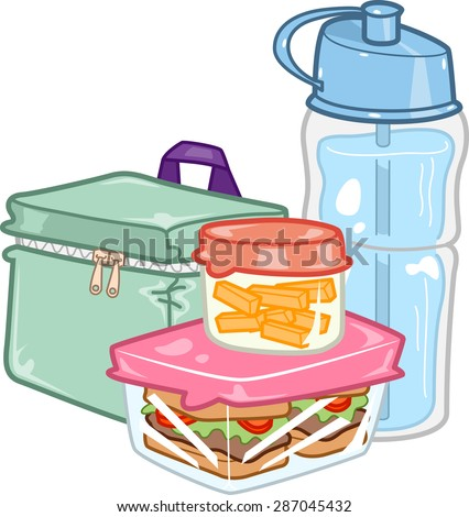 Illustration of a Carefully Prepared Lunchbox Together with a Water Bottle - stock vector