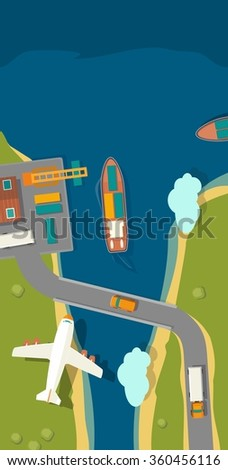 Illustration of a cargo port in flat vector style. Top view. Ship, harbor, sea, boat, crane, dock, airplane and track. For vertical banner industry shipping transport. - stock vector