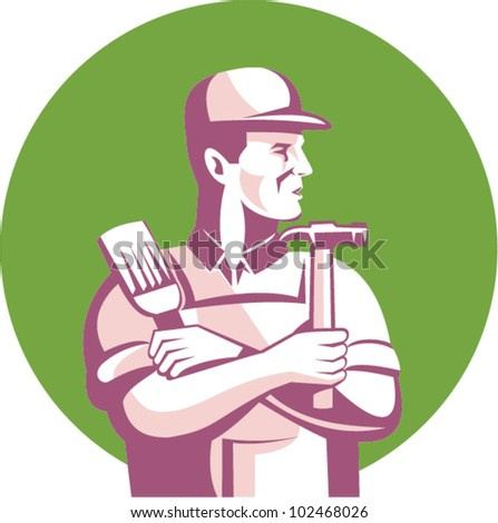 Illustration of a carpenter construction worker with paint brush and hammer looking to side done in retro style set inside circle. - stock vector