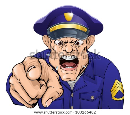 Illustration of a cartoon angry policeman cop or security guard shouting at the viewer - stock vector