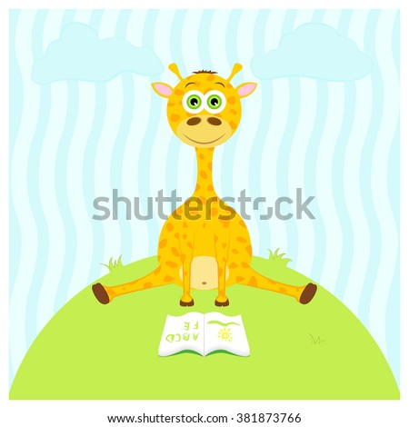 Illustration of a cartoon cute giraffe sitting with a book.