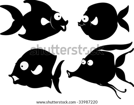 Illustration of  a cartoon fish on white