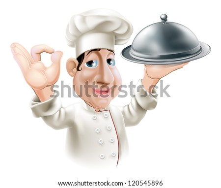 Illustration of a cartoon friendly happy chef with silver serving tray smiling and doing okay sign - stock vector