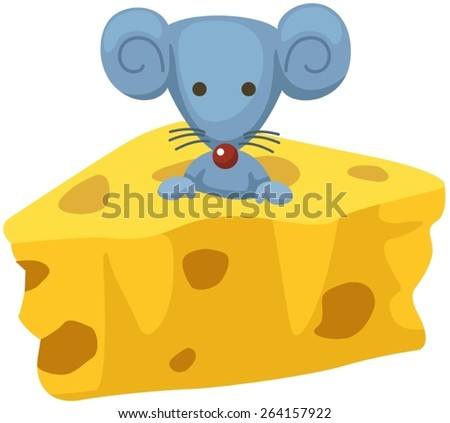 illustration  of a cartoon mouse with a piece of cheese - stock vector