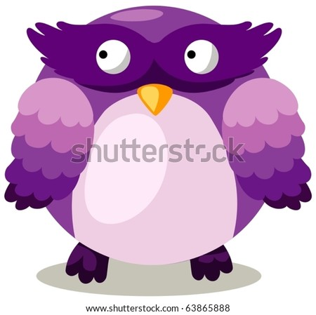 illustration of  a cartoon owl on white background - stock vector