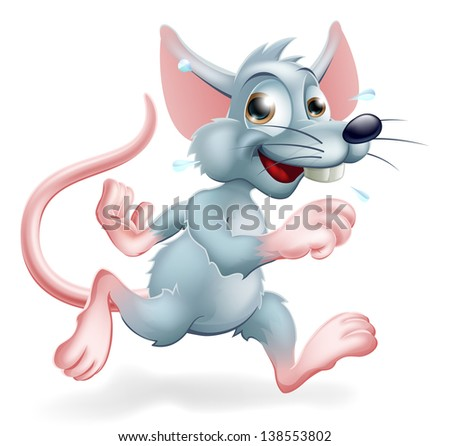 Illustration of a cartoon rat character running, a conceptual illustration for the rat race perhaps.