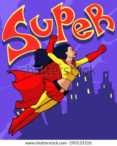 Illustration of a cartoon super lady flying forward on the background of the city