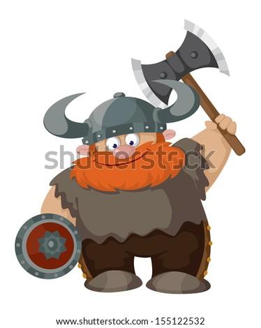 illustration of a cartoon viking - stock vector