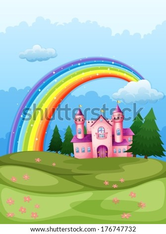 Illustration of a castle at the hilltop with a rainbow in the sky - stock vector