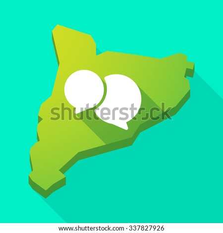 Illustration of a Catalonia long shadow vector icon map with  comic balloons - stock vector