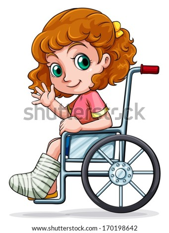 Illustration of a Caucasian girl sitting on a wheelchair on a white background - stock vector