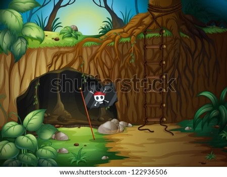 Illustration of a cave and a pirate flag in a jungle - stock vector