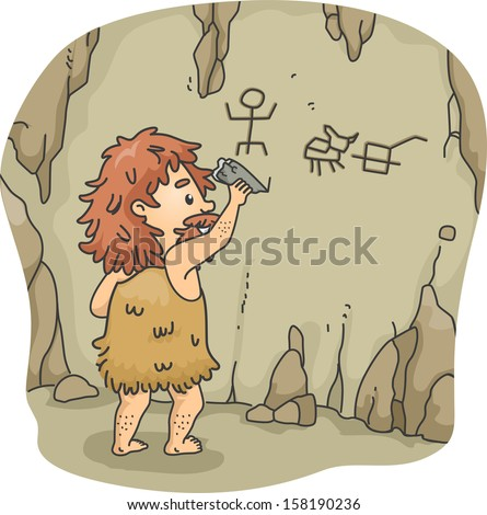 Illustration of a Caveman Etching Figures on the Walls of a Cave Using a Piece of Stone - stock vector