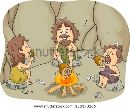 Illustration of a Caveman Family Eating Chunks of Meat Together in Front of a Bonfire - stock vector
