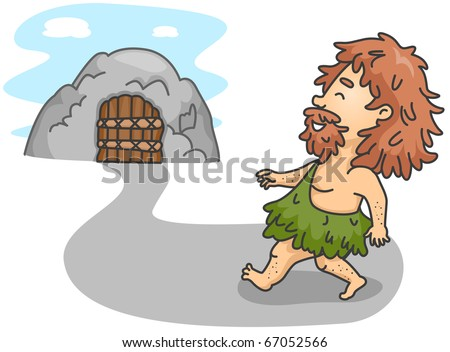 Illustration of a Caveman Going Home