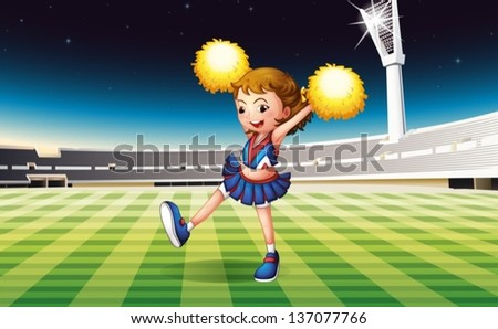 Illustration of a cheerer performing at the stadium - stock vector