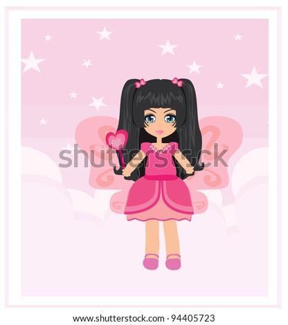 Illustration of a cheerful fairy - stock vector