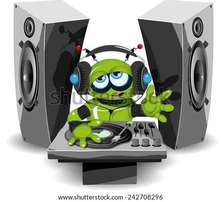 Illustration of a cheerful green robot DJ