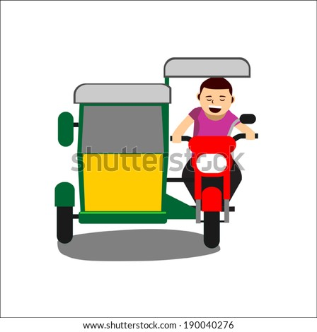 Illustration of a cheerful man driving a tricycle. Isolated background