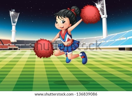 Illustration of a cheerleader performing at the stadium - stock vector